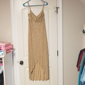 Gold shimmer high low dress
